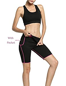 Hisweet Sauna Pants For Women Weight Loss Workout Leggings With Pockets Hot Neoprene Shorts