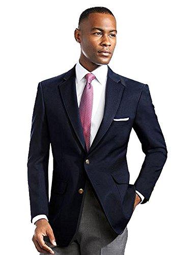 Men's Elegant Modern 2 Button Notch Lapel Blazer - Many Colors (46 Regular, Navy)