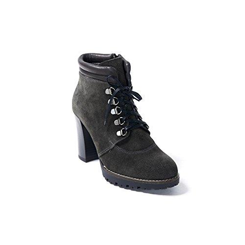 UMA Echtes Leder Plateau Stiefel für Damen Grau
