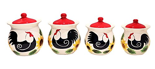 Red Sunflower Rooster Collection Handcrafted Ceramic 4-Piece Canister Set, 86801 by ACK (Rooster Red Ceramic)