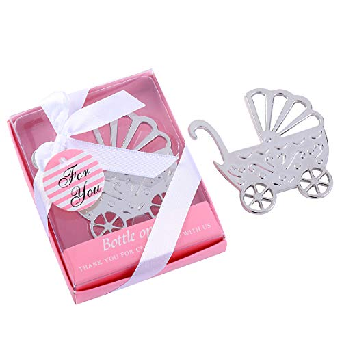 Baby Shower Carriage 24 3 - Yuokwer Pack of 24 Baby Shower Party Favor Bottle Opener Party Supplies Decoration Return Gift for Guest Wedding Party Souvenir for Birthday Bridal Shower Bar Tools,Baby Carriage (Pink, 24)