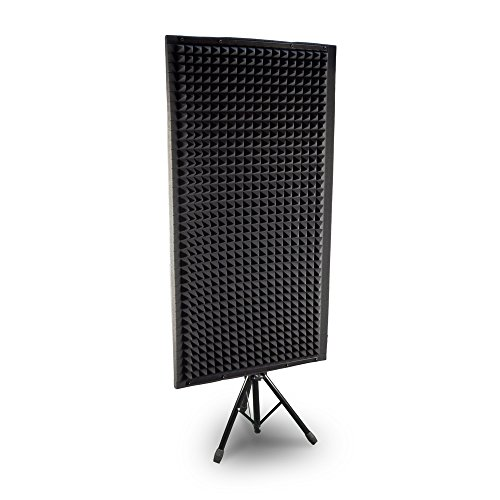 Studio Panel Absorber - Pyle PSiP24 Acoustic Isolation Absorber Shield Sound Wall Panel Studio Foam and Dampening Wedge with Height Adjustable Stand
