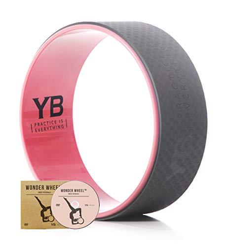 YOGABODY Jumbo Yoga Wheel with DVD, 15 inches, Baby Pink/Gray