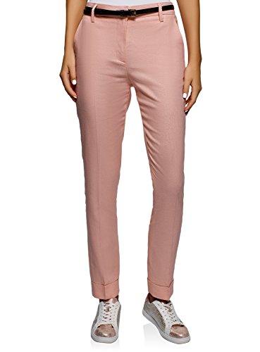 oodji Ultra Women's Pleated Linen Trousers, Pink, 2