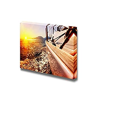 Yacht Boat Sailing Against Sunset on The Sea Wall Decor