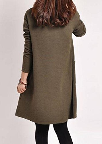 Coffee Stylish Plus Dress Size Pocket Comfy Ink Long Sleeve Pullover V Womens Neck AwC5xqU7