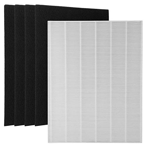 (1 True HEPA Filter + 4 Carbon Replacement Filters A 115115 Size 21 for Winix PlasmaWave Air Purifier 5300 6300 5300-2 6300-2 P)