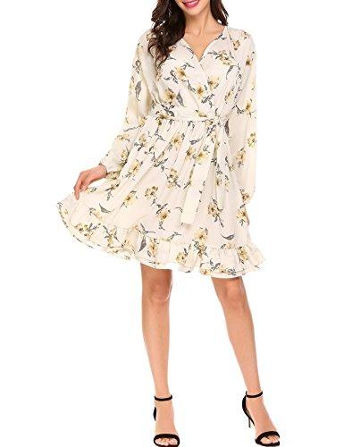 bubblebelle Women's Wrap V Neck Lantern Sleeve Chiffon Floral A Line Dress With Belted (Belted Mini Belt)