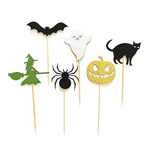 dfsdmlp Halloween Cake Topper,Spider Elf Cupcake Topper Birthday Baby Shower Decor(6Pcs)