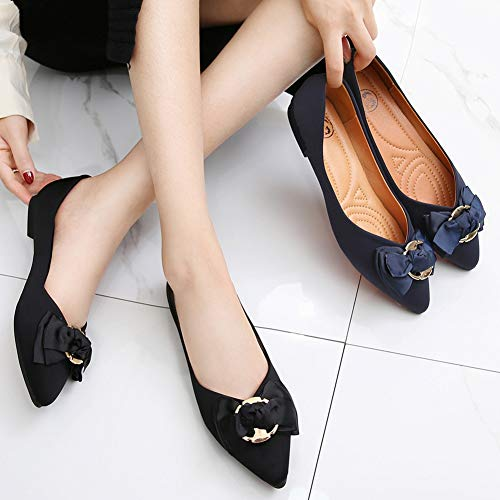 Pictures of Meeshine Womens Bow Pointed Toe Ballet Flats 2