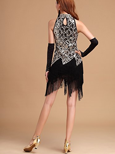 Costume Paisley Dress whitewed Roaring 20s Girl 1920s Sequin Gold Black Tassel Flapper ZnR86qn