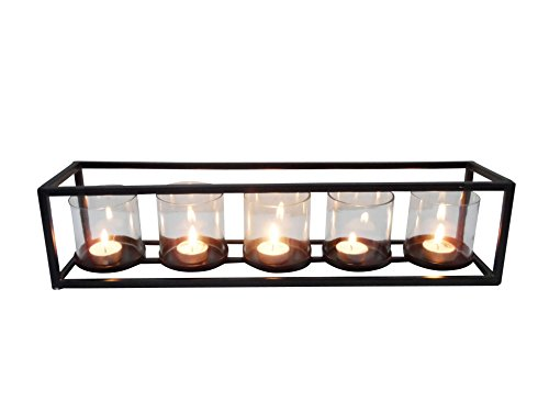 Deco 79 54260 Iron and Glass Five-Light Candle Holder, 5