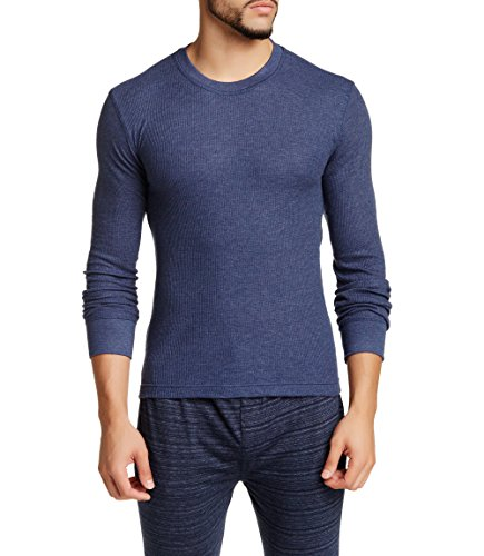 Bottoms Out Men's Long Sleeve Luxurious Premium Designer Slim Waffle Knit Cotton Warm Crew Neck Long Sleeve ,Navy Heather,Medium