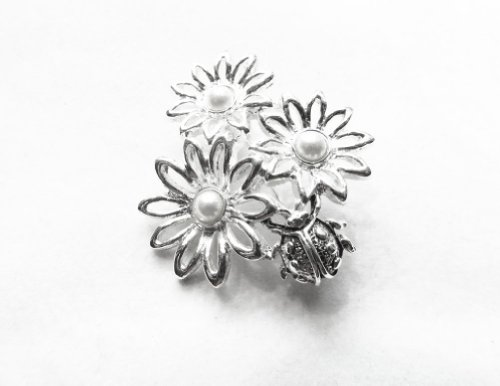 [Danecraft Silver - Plated Lady Bug and Daisies Pin Brooch] (Beetle Wings Costume)
