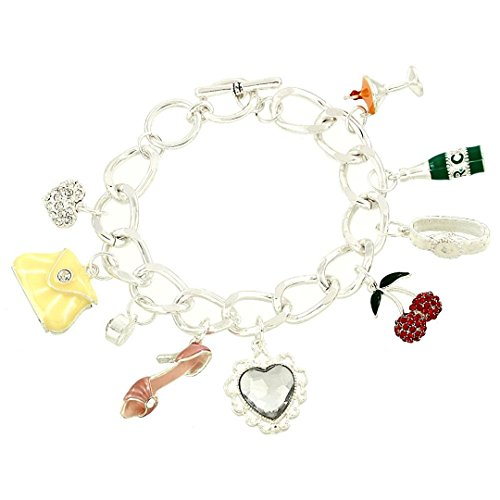 Girls Night Out Charm Bracelet C18 Shoe Martini Watch Heart Silver Tone Toggle Clasp