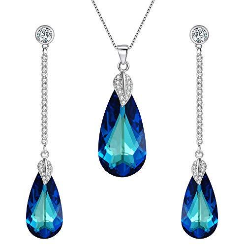 (EleQueen 925 Sterling Silver CZ Teardrop Leaf Pendant Necklace Long Dangle Earrings Set Bermuda Blue Made with Swarovski Crystals Blue)
