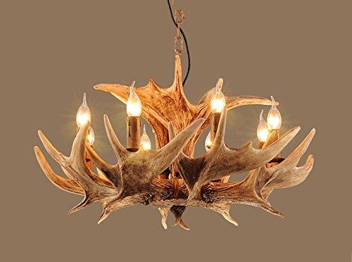 Hines vintage lampadario di corno di cervo resina luci rurali