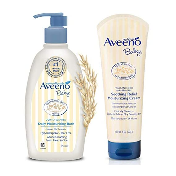 Aveeno Baby Daily Moisturising Bath for Delicate Skin (354ml) & Baby Soothing Relief Moisture Cream Fragrance Free 227g