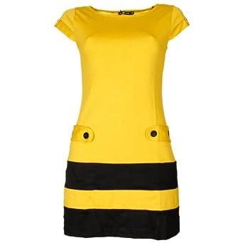 san francisco ee900 1e8c5 Smashed Lemon Damen Kleid gelb schwarz S: Amazon.de: Bekleidung