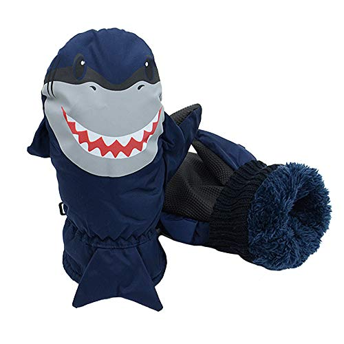 7-Mi Kids Navy Water-Resistant Ski Gloves Warm Outdoor Sports Mitten,Windproof Nylon Winter Shark Mitten for 3-6Y Girls Boys ()