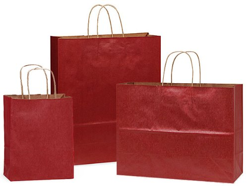 Pack Of 300, Christmas Red Kraft Paper Shopping Bags Solid Assortment 150 Cub (8'' X 4-3/4'' X 10-1/4''), 100 Vogue (16'' X 6'' X 12'') & 50 Queen (16'' X 6'' X 19'') Made In USA