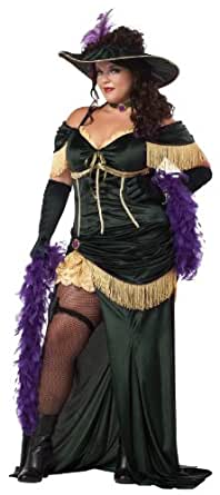 California Costumes Plus-Size Saloon Madame, Dark Green/Gold, 1XL Costume