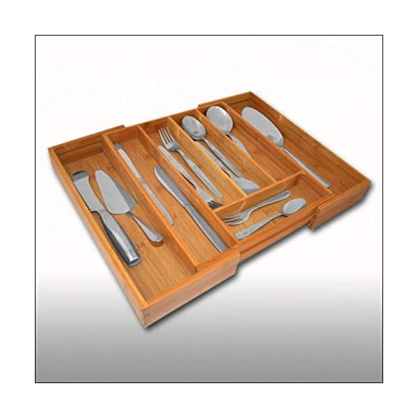 Relaxdays Besteckkasten Bambus, ausziehbarer Besteckeinsatz als Küchenorganizer, Schubladeneinsatz 33,5x29-48x5 cm…