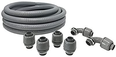 """Sealproof Non-metallic Liquid-Tight Conduit and Connector Kit, 3/4-Inch 25 Foot Flexible Electrical Conduit Type B with 4 Straight and 2 90-Degree Conduit Connector Fittings, 3/4"""" Dia"""