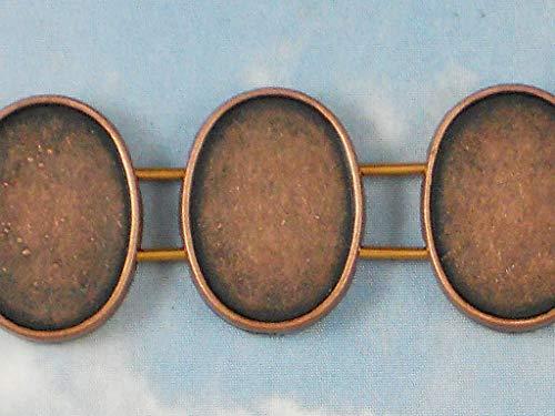 Pendant Jewelry Making 10 Bezels 2 Strand Oval Bezel Trays Settings Beads Sliders Copper Tone