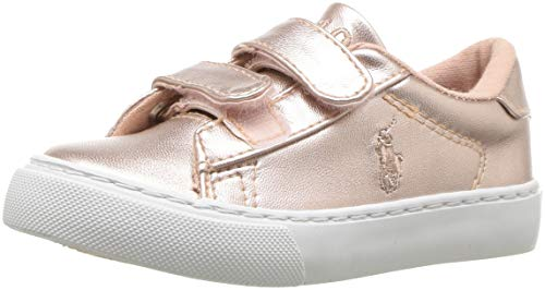 Polo Ralph Lauren Kids Girls' Easten EZ Sneaker, Pink/Metallic, M070 M US Toddler (Shoes Girls Ralph Lauren)