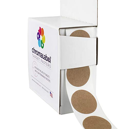 ChromaLabel Round Target Pasters | 1,000/Dispenser Box (1 Inch, Brown Kraft)
