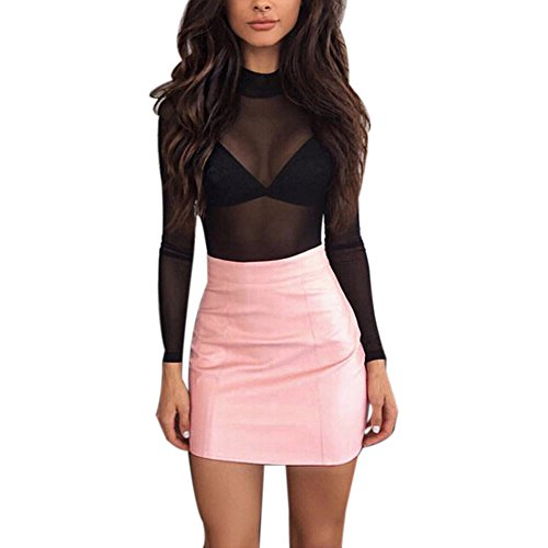 Cenglings Women's Faux Leather Skirts High Waist A Line Short Mini Skirt Pencil Skirts Sexy Short PU Skirts - Sox Embroidered Leather