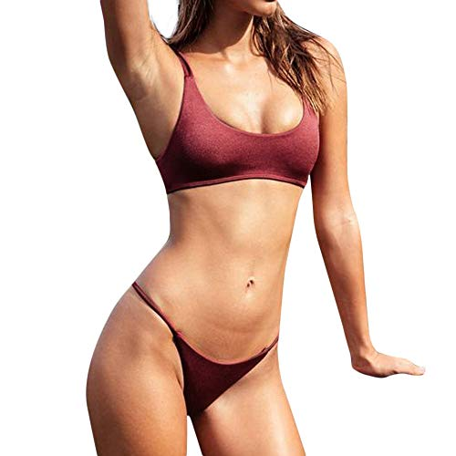 - HYIRI Big 2019 New Women's Temperament Bandeau Bandage Bikini Set Push-Up Brazilian Swimwear Beachwear Swimsuit Wine Red