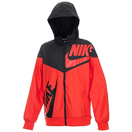 Nike Boy's Sportswear Graphic Windrunner Jacket (Red, X-Large)