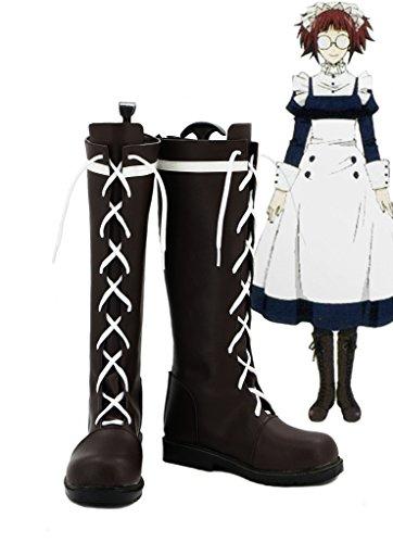 Butler Black Shoes Cosplay Custom Kuroshitsuji Boots Mey Rin Made dXvzxXnqr