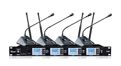 Boly 4200S UHF 4-Channel Professional Wireless Desktop Conference Microphone System by BOLY
