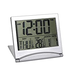 Lznlink LCD Digital Alarm Clock Large Display Portable Folding Electronic Calendar Travel Alarm Clock with Temperature, Backlight, Repeating Snooze - Battery Operated