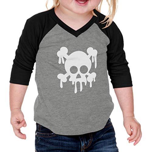 Cute Rascals White Skull Cotton/Polyester 3/4 Sleeve V-Neck Boys-Girls Infant Raglan T-Shirt Baseball Jersey - Gray Black, 12 Months