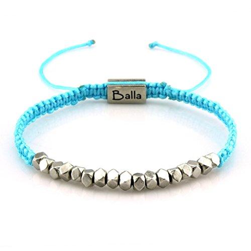 Balla Faith Karma Simple Silver Beaded Blue Nylon Adjustable Bracelet Gift for Daughter Mom Girls ()