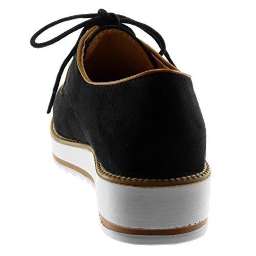 Zapatillas Plataforma Pespunte Suela Zapatillas Plataforma Derby Moda Negro de Mujer 4 CM Acabado Angkorly Costura Zapato dCxwq7adg