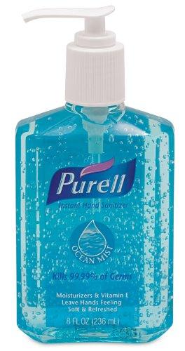 PURELL Advanced Hand Sanitizer Gel, Ocean Mist Fragrance, 8 fl oz Sanitizer Counter Top Pump Bottles - 3012-12
