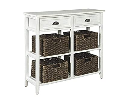 Amazon Com Wood Console Table With 4 Woven Basket Console Table
