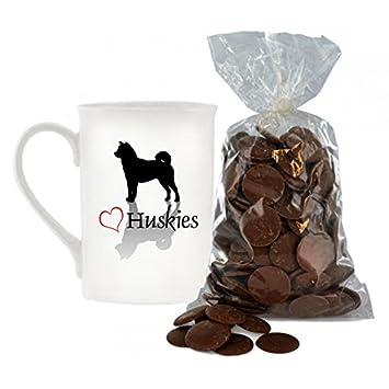 Elegante diseño de corazón Huskies Bone China taza incluye 200 G Bolsa de Chocolate con leche botones.: Amazon.es: Hogar