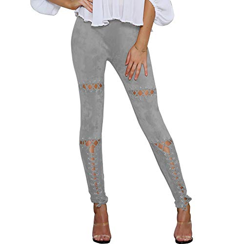 NJunicorn Uncle Womens Casual Sexy Slim Pencil Pants Super Elastic Bandage Eyelet Hollow Skinny Leggings (Grey 4/6)