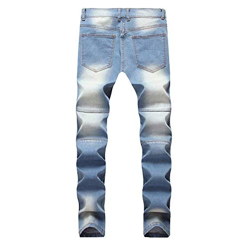 Fashion Estilo Rise Fit Da Blu Denim Casual Slim Especial Mid Lunghi Uomo Pants Jeans Hole Pantaloni Stretch EBHPvq