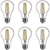 FLSNT A60/A19 LED Edison Light Bulbs 60W Equivalent,E27 Base,2700K Soft White,7W,800LM,Non-Dimmable,6 Pack