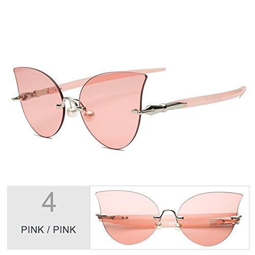 TIANLIANG04 Pink Reborde De De Sin Ojo Pink Gato Perla De Mujeres Gafas Sol Gafas Decoración Gris Negro rZTR4nr