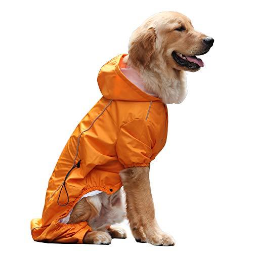 EVELOVE Large Dog Rain Jacket Poncho Waterproof Clothes with Hood Dog Raincoat with Safe Reflective Stripes for Small Medium Large Pet (XL, Orange) -