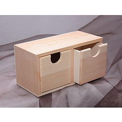 Mobiletto a 2 cassetti in legno naturale per decoupage. MOBILE ...