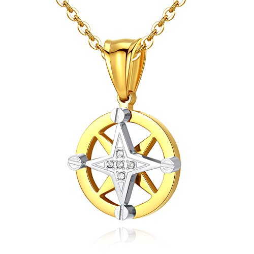 TOUGHARD Stainless Steel Hexagram Unisex CZ Circle Pendant Necklace, Delicate Jewelry for Men Girls Women (Hexagram)